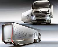 Mercedes markalı ve römorklu modern bir tır tasarımı