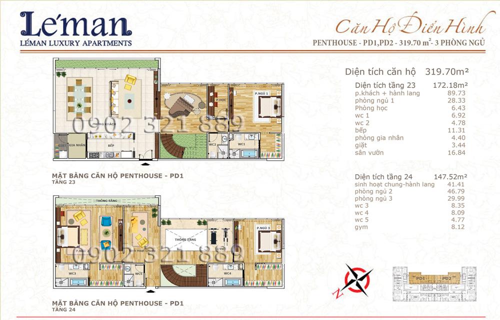 Mặt bằng căn hộ Leman C T Plaza Penthouse 319.70m2