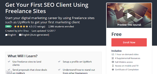 FREE Udemy Course Screen - Get Your First SEO Client Using Freelance Sites