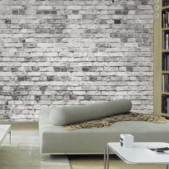tegeltapet vit grå fototapet vardagsrum