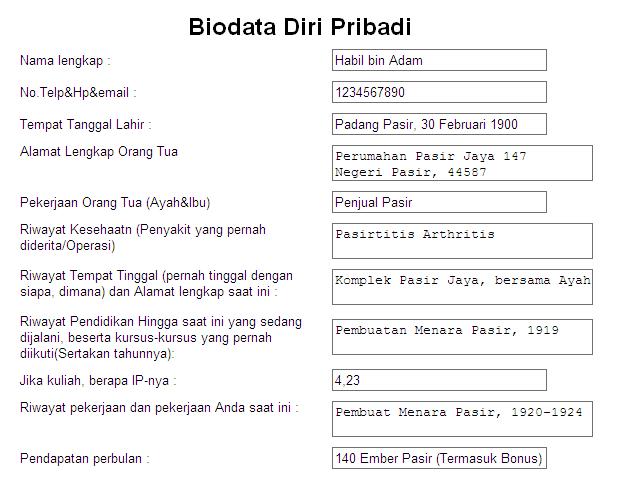 contoh biodata diri terbaru dan lengkap