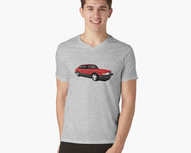 Saab 900 Turbo Aero red 80's t-shirt