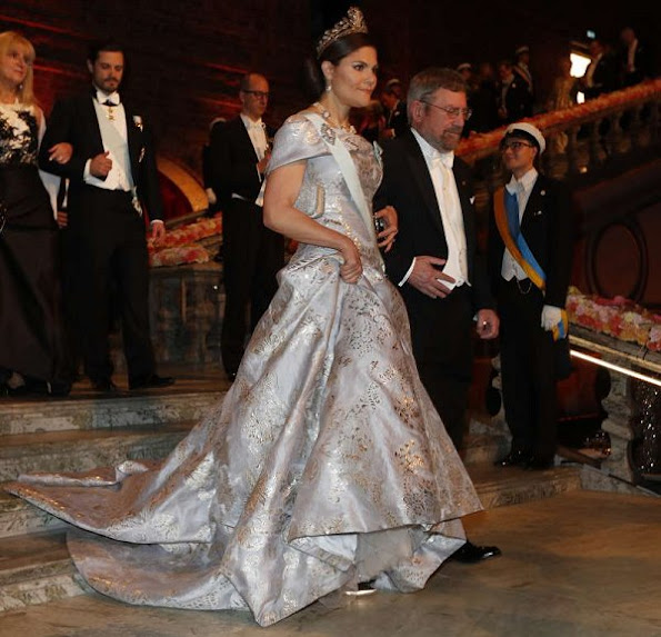 Crown Princess Victoria, Prince Daniel, Prince Carl Philip, Princess Sofia, Princess Madeleine of Sweden at Nobel Banquet