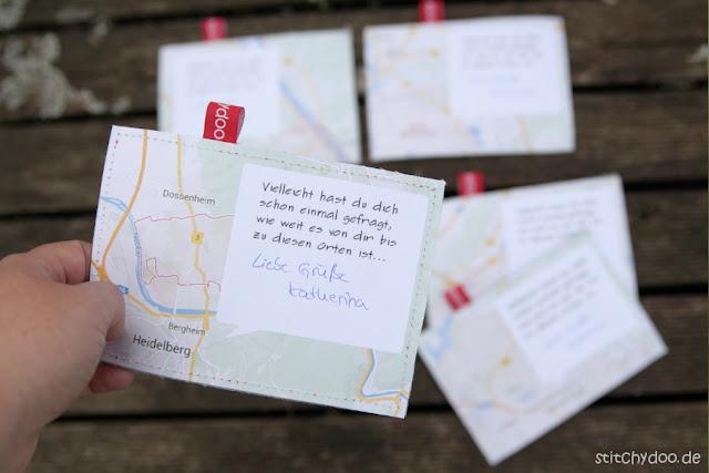 "stitchydoo: Jeansrecycling - Stoffkarten zum Thema ""Stadt, Land, Fluss"" - Rückseite mit Kartenausschnitt"