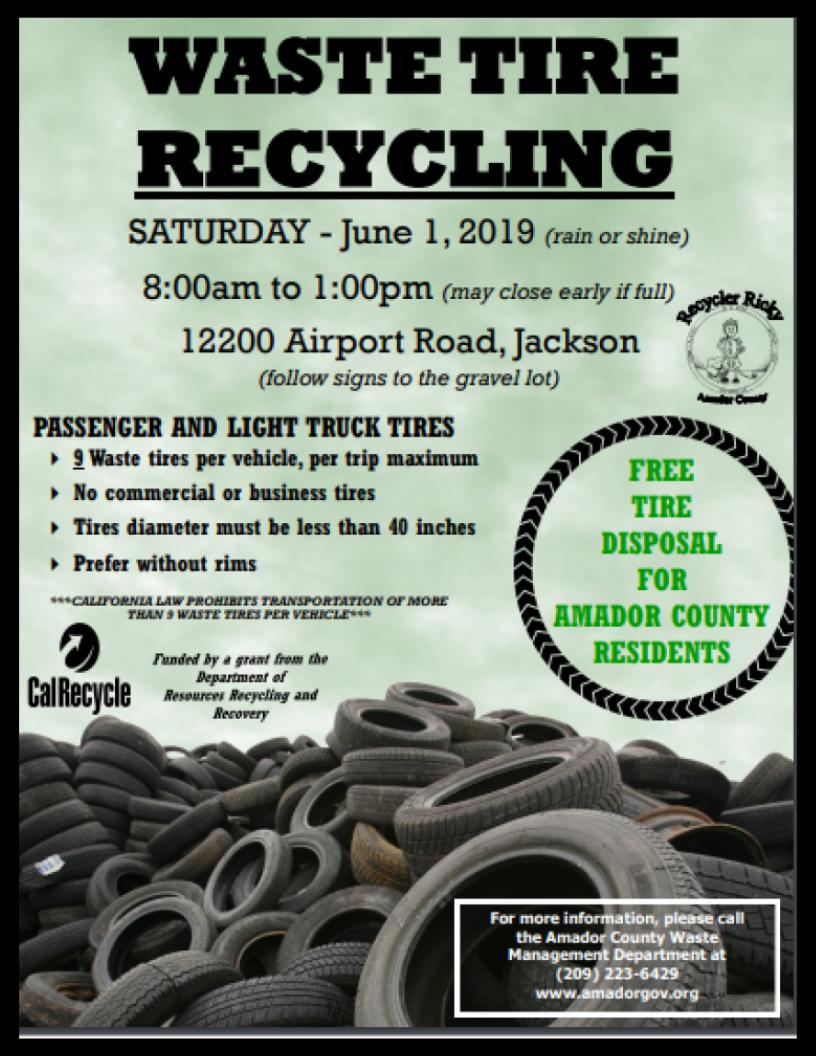 Waste Tire Recycling - Sat June 1