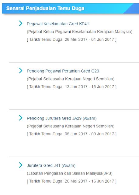 Senarai Penjadual Temuduga Suruhanjaya Perkhidmatan Awam Bagi Mei  Dan Jun 2017