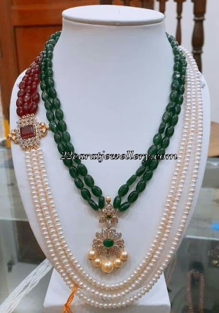 Pearls and Emerald Beads Side motif