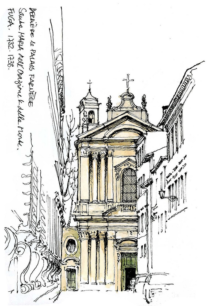08-Rome-Santa-Maria-dell-Orazione-Gérard-Michel-Italian-Urban-Sketches-to-Capture-Architecture-in-a-moment-in-Time-www-designstack-co
