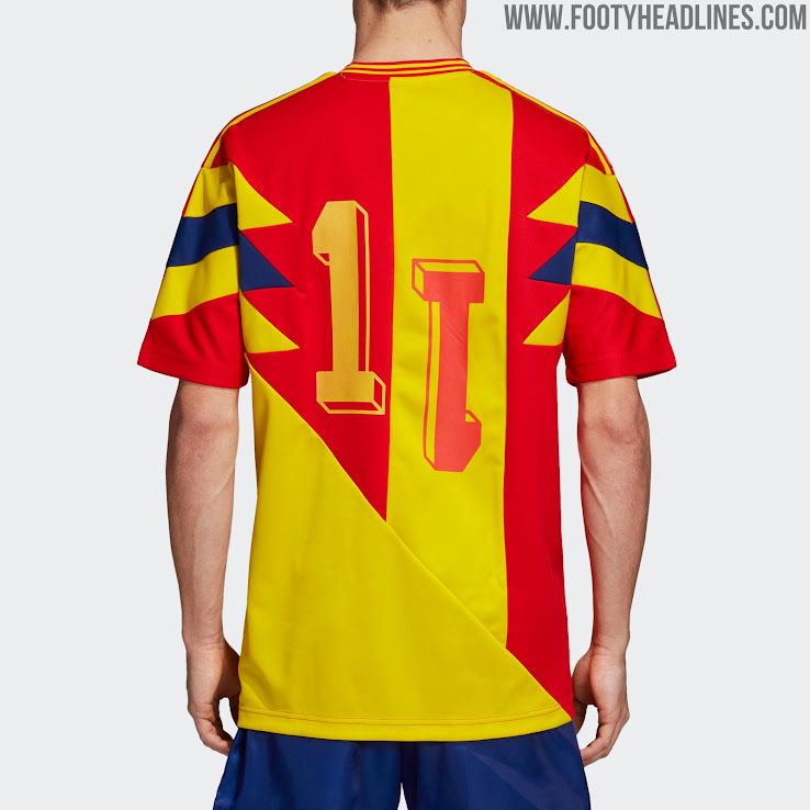 590732264 The Colombia mash-up strip brings together the 1990 World Cup home and away  jerseys
