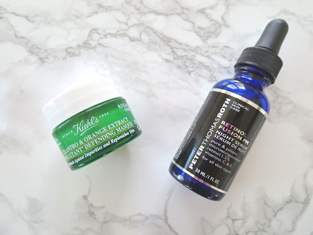 a picture of Peter Thomas Roth Retinol Fusion PM &  Kiehl's Cilantro & Orange Extract Pollutant Purifying Masque