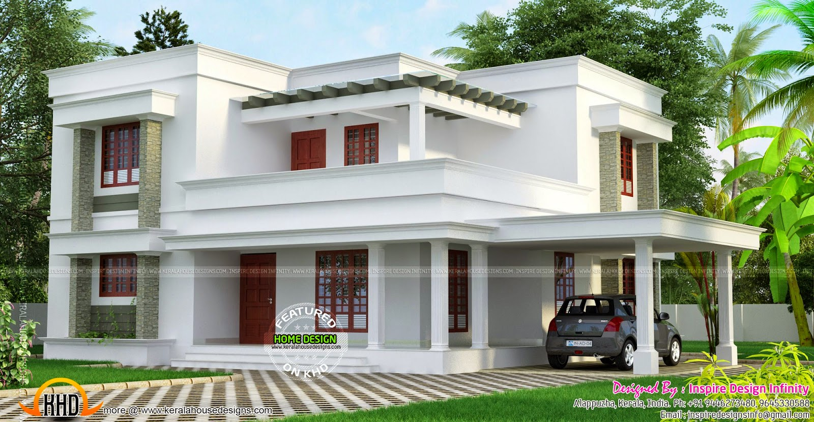 Simple but beautiful flat roof house kerala home design for House plans in kerala with 2 bedrooms