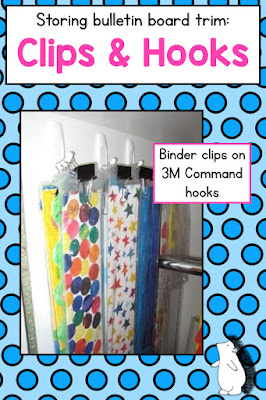 How to use clips and hooks to organize and store bulletin board trim
