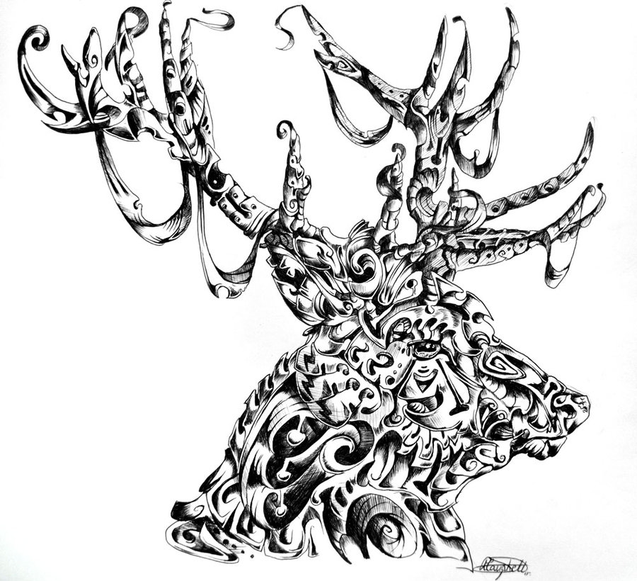 07-Stag-René-Campbell-Art-in-Animal-Doodle-Drawings-www-designstack-co