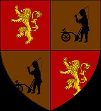 Escudo Lannister de Darry: León amarillo sobre fondo negro y labrador negro sobre fondo marrón