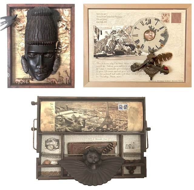 Assemblages of Antiques, Ephemera  and Found Objects © Mary Becker Weiss Brunswick ME USA