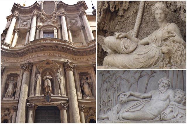 Iglesia de San Carlo alle Quattro Fontane en Roma – Figuras de Juno y Arno en Le Quattro Fontane Las Cuatro Fuentes