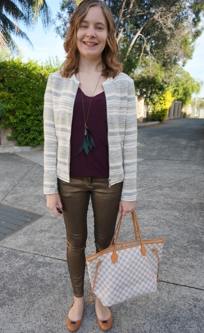 jacquard blazer sass and bide gold metallic skinny jeans burgundy tee