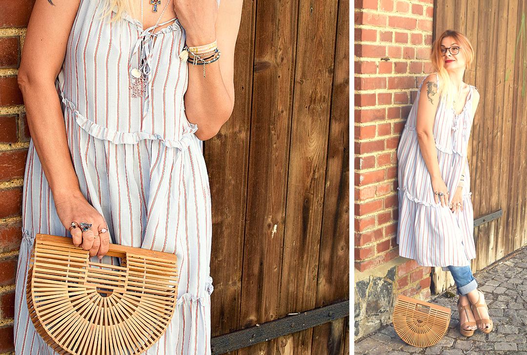 gestreiftes Sommerkleid, Bambushandtasche