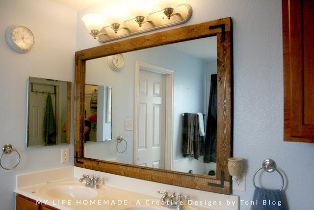 My Life Homemade Easy Bathroom Mirror Wood Frame Update