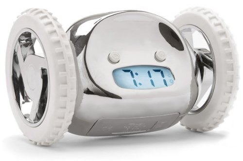 Clocky Alarm Clock on Wheels in Chrome