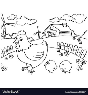 Chicken On Farm Coloring Pages For Print