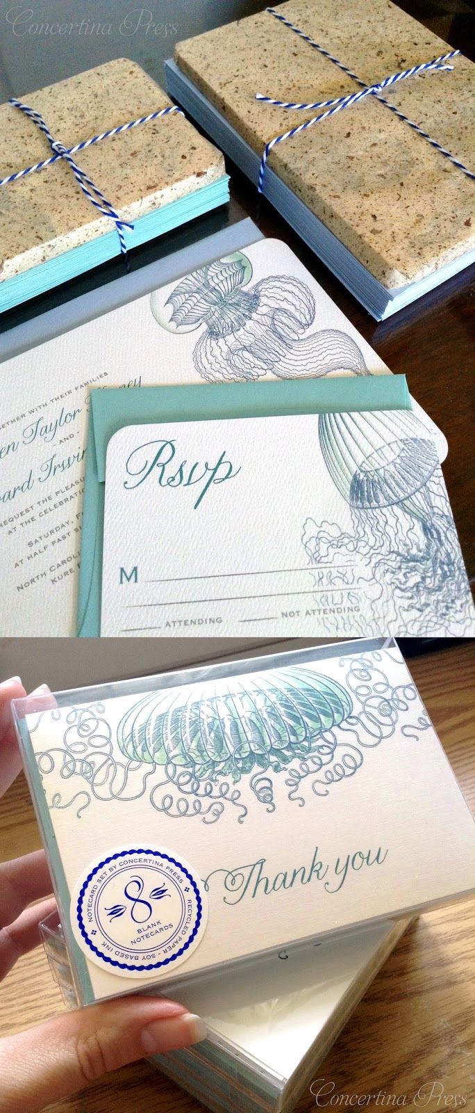 Jellyfish Wedding Invitation Set with RSVPs - wedding at the aquarium