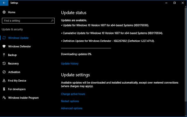 Microsoft phát hành cập nhật tích lũy KB3176934 cho Windows 10 Version 1607