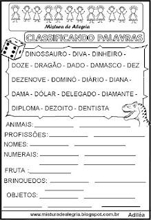 Classificar palavras com letra D