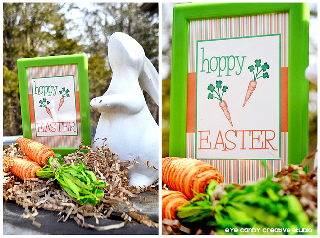 Pier 1 bunny, hoppy easter sign, carrots, easter party decor ideas