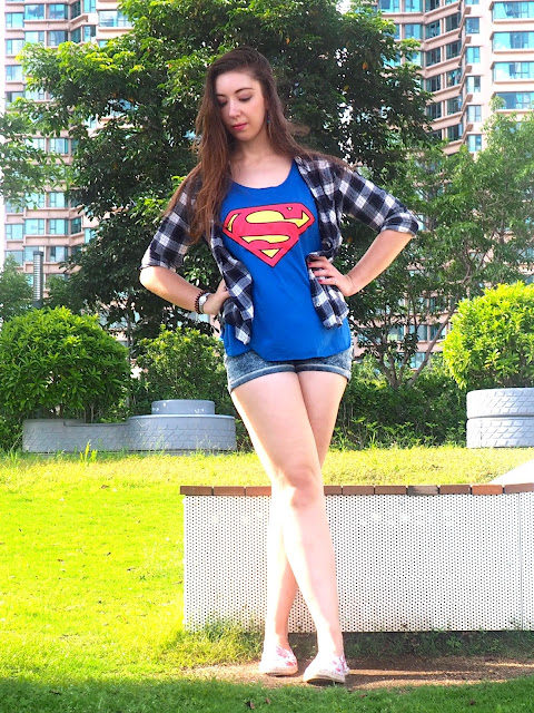 Girl of Steel | outfit of Supergirl logo top, blue checked shirt, denim shorts & flower print espadrilles
