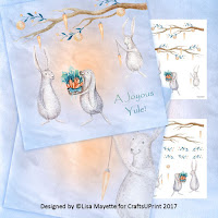 Winter Holiday Rabbits Card Making Kit
