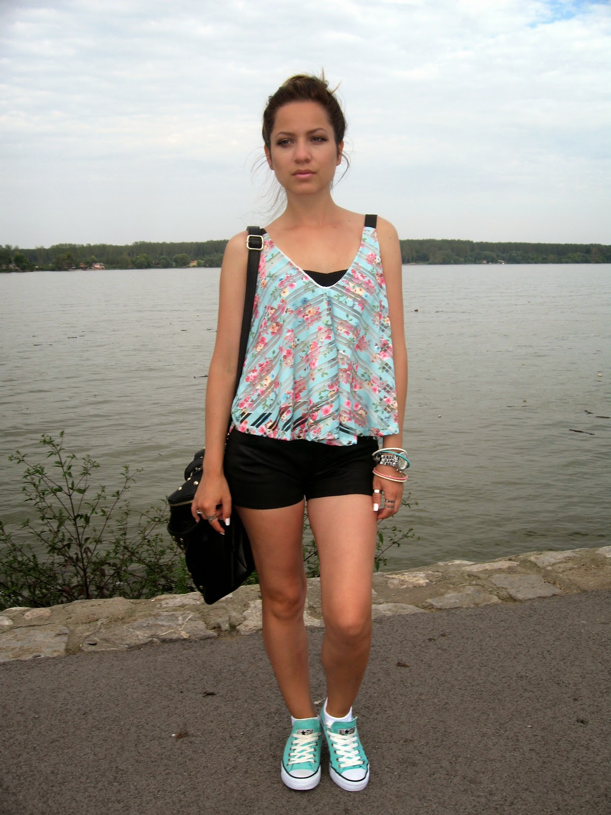outfit, mint floral top, black shorts, mint converse sneakers, carpisa black studded bag, avon colorful bracelets, michael kors watch, bornprettystore.com jewelry and accessories