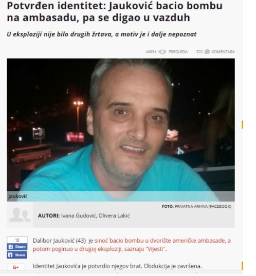 Dalibor Jaukovic, the person who attacked the US Embassy in Montenegro