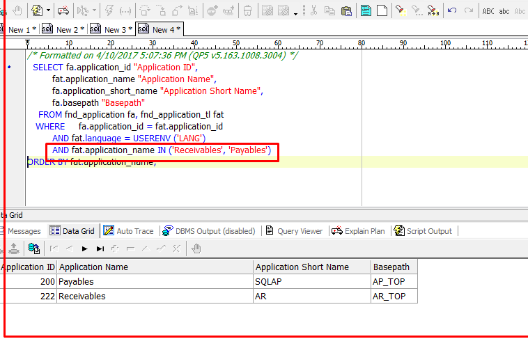 Query to find Application ID & Name in R12 1 3   Oracle Apps Learning