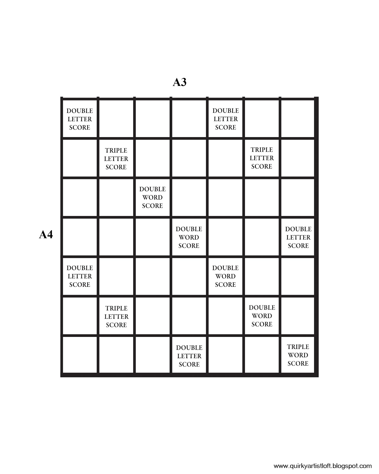 graphic relating to Printable Scrabble Board Template known as Quirky Artist Loft: Do-it-yourself Printable Scrabble Board