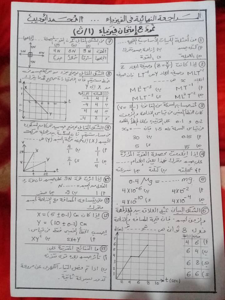 أفضل مراجعات الفيزياء للصف الأول الثانوي ترم أول 2021 3