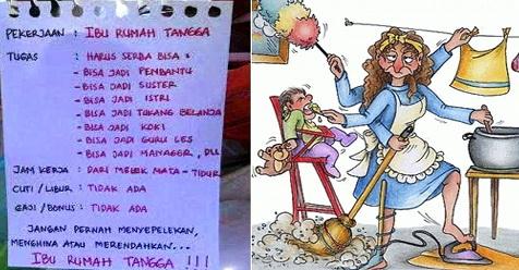 Ya Allah, Istighfar Mas! Daftar Pekerjaan Istri Itu Sangat Banyak, Masa Dibilang Gak Kerja