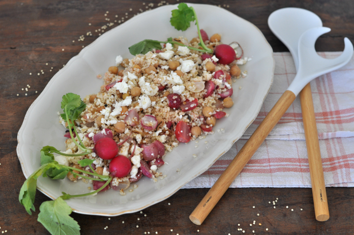 Roasted-Radish-Salad with feta cheese, millet and chickpeas, naturally gluten free and oh-so good!