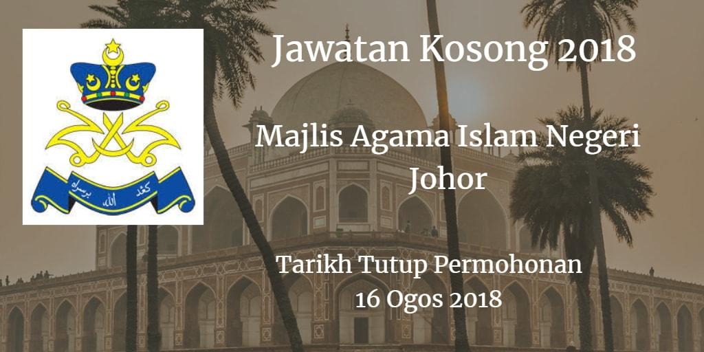 Jawatan Kosong MAIJ 16 Ogos 2018