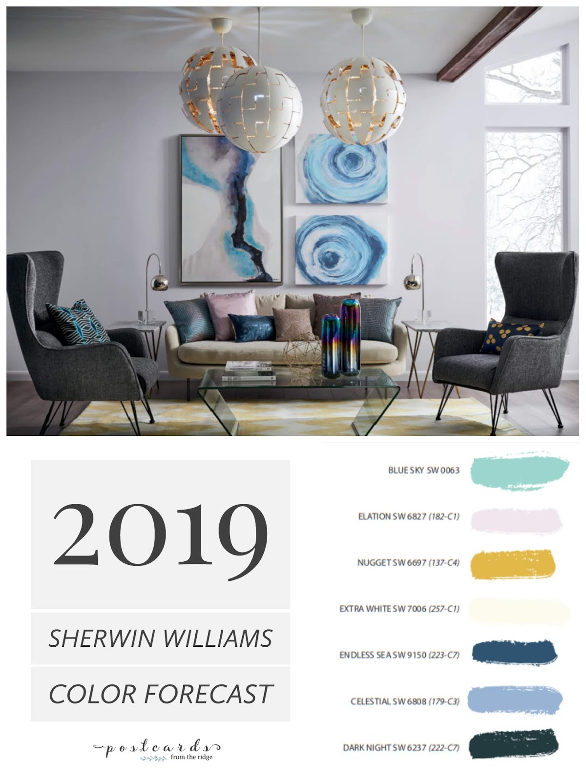 Living Room Paint Colors 2019 White For Color Forecast From Sherwin Williams Postcards The With Gray Painted Walls