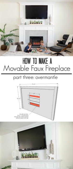 diy overmantle electric fireplace tutorial movable