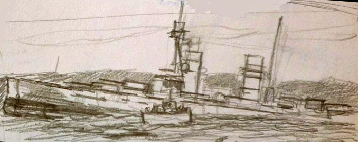 Boceto de pintura hyndimiento Scapa Flow 4