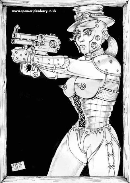 Steampunk Assassin XII  •Hand Drawn Original Steampunk Fetish Art Ink drawing