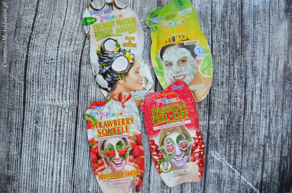 Maski do twarzy: kremowa, peel-off i w płachcie oraz kokosowa maska do włosów 7th Heaven