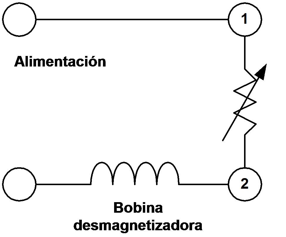 Circuito del conexionado eléctrico de un PTC de dos patas.