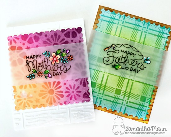 Mother's and Father's Day Stenciled cards by Samantha Mann | Mother's Day and Father's Day Stamp Sets, Bold Blooms Stencil, Hardwood Stencil, Plaid Stencil Set, Frames Squared Die Set and Framework Die Set  by Newton's Nook Designs #newtonsnook #handmade