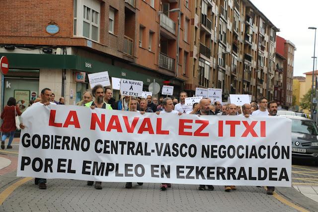 manifestación trabajadores de La Naval en Barakaldo