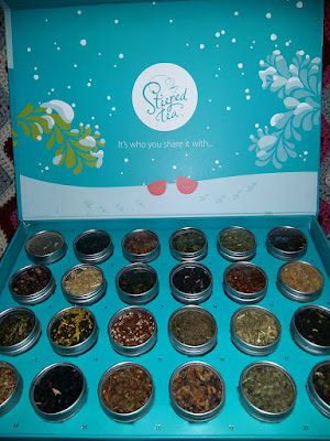 24 Steeps 'till Christmas tea sampler includes: Christmas Chai,  Kiwi Passion Fruit, Maraschino Cherry,  Turmeric `N Spice, White Chocolate Soufflé,  Peach Caramel Cobbler,  Creamy Milk Oolong,  Drop That Sweet Beet, Peppy Peppermint,  Stress Reliever