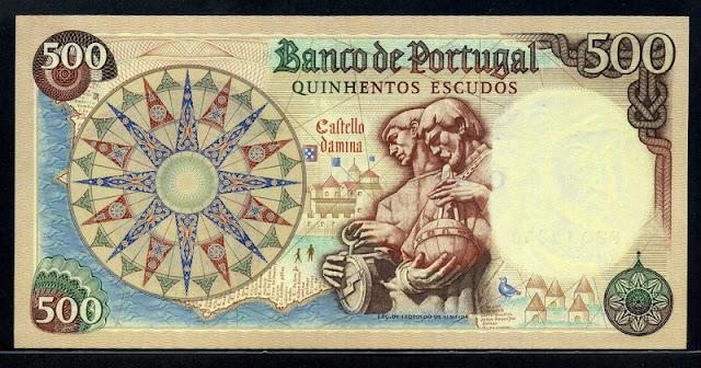 Portugal banknotes 500 Escudos Portuguese escudo note