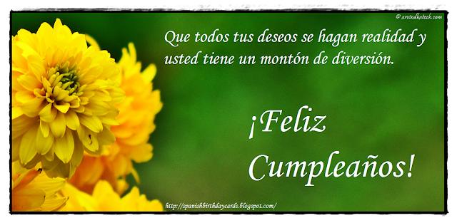 Tarjeta de cumpleaños, flor, todos, deseos, hagan, realidad,